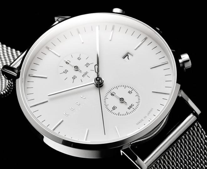knotの時計白文字盤クロノグラフ
