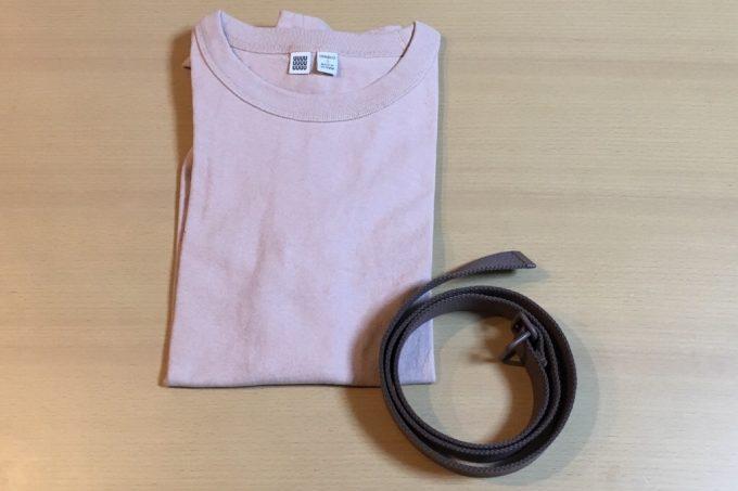 ユニクロユー2018春夏メンズ クルーネックT(半袖)とテープベルトを購入