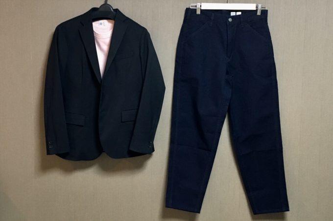 ユニクロユー2018春夏メンズ  ワイドフィットテーパードジーンズとクルーネックシャツ コーディネート
