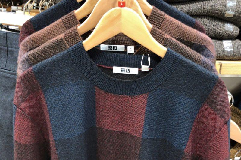 チェッククルーネックセーター(長袖)