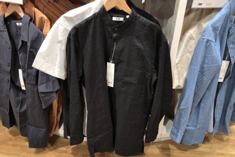 コットンリネンスタンドカラーシャツ(長袖)